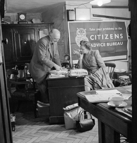 inside an early Citizens Advice Bureau